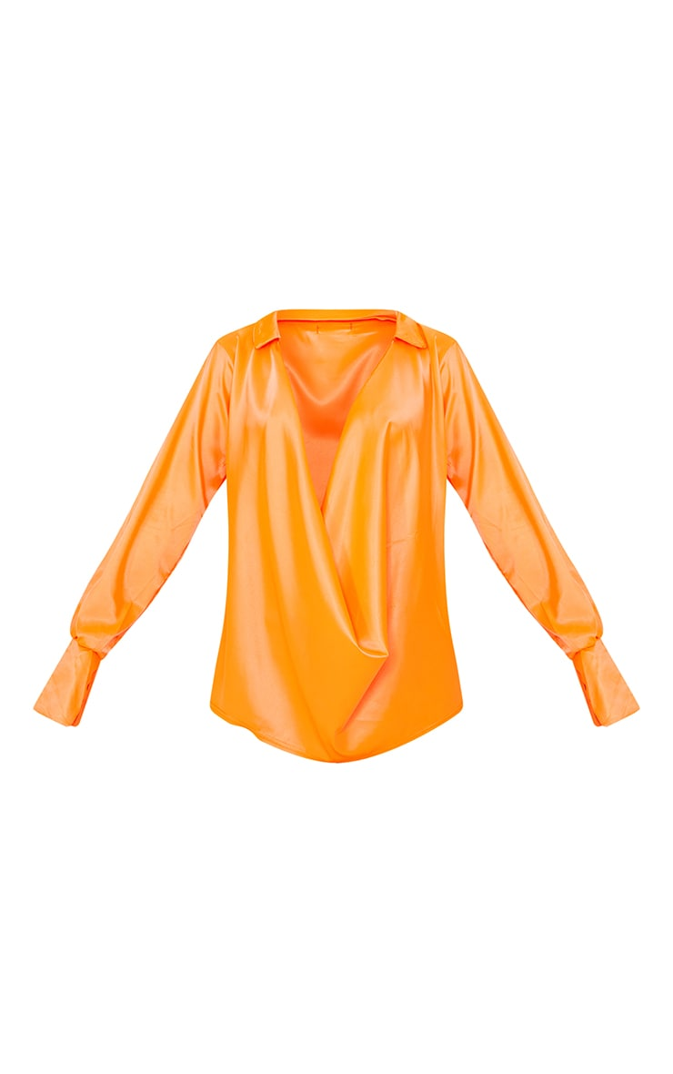 Hot Orange Extreme Cowl Long Line Satin Shirt 5