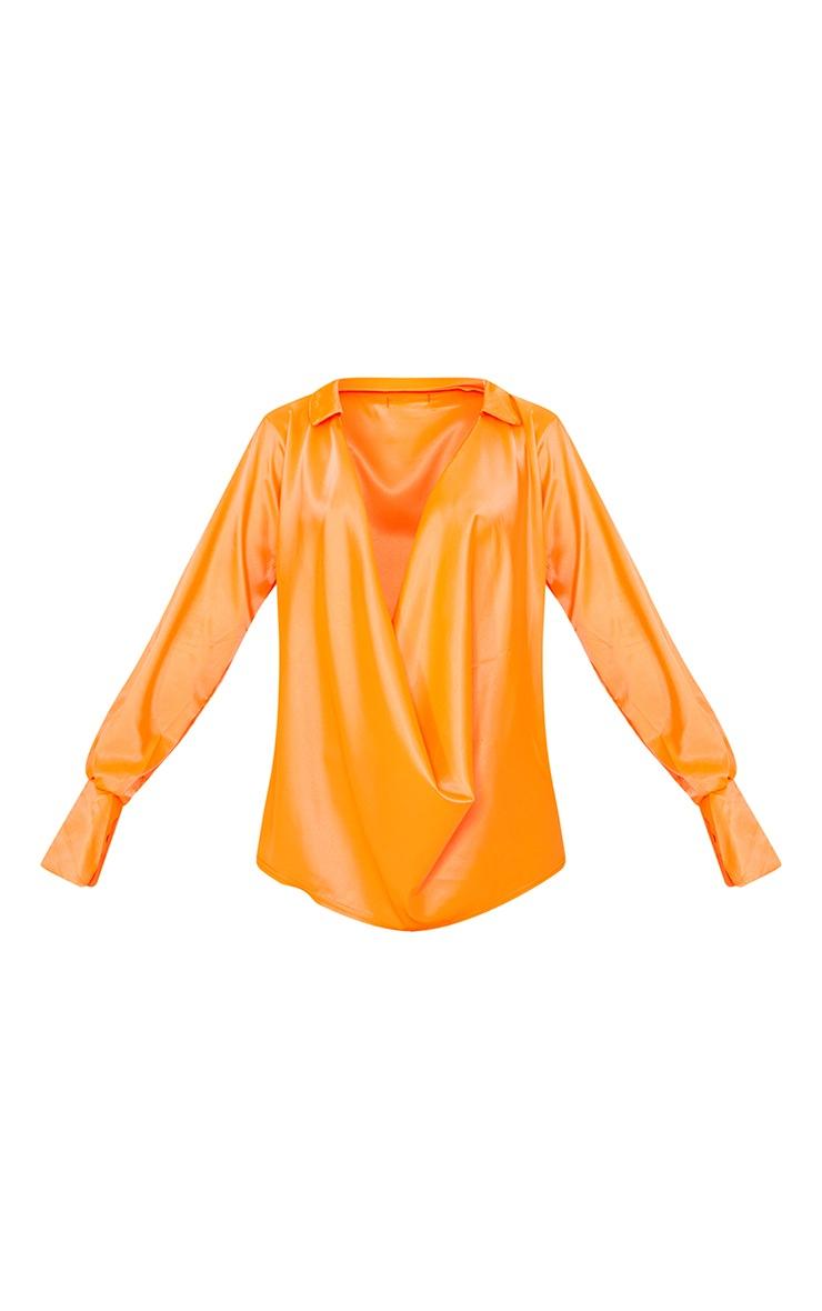 Hot Orange Extreme Cowl Long Line Satin Shirt image 5