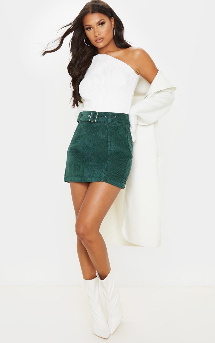 Forest Green Cord Belted Denim Mini Skirt 6