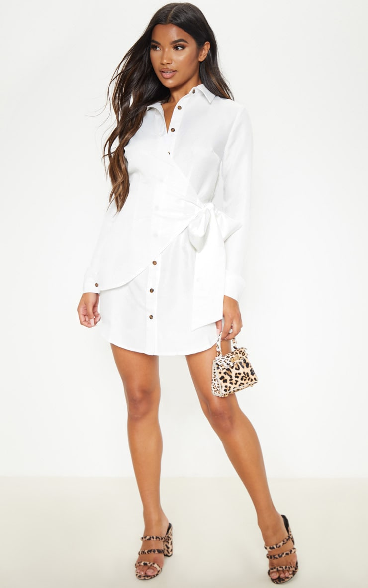 White Tortoise Button Wrap Tie Shirt Dress 4