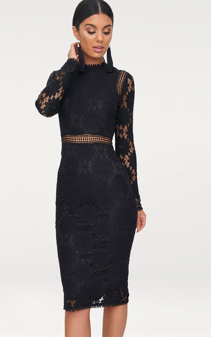 Caris Black Long Sleeve Lace Bodycon Dress 1