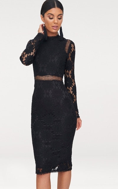fb8763888b2c Caris Black Long Sleeve Lace Bodycon Dress