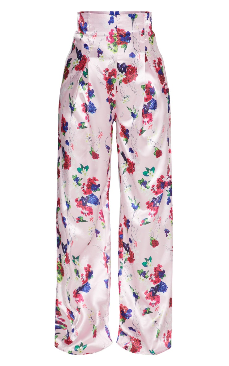 Pink Satin Floral Print High Waisted Trousers 3