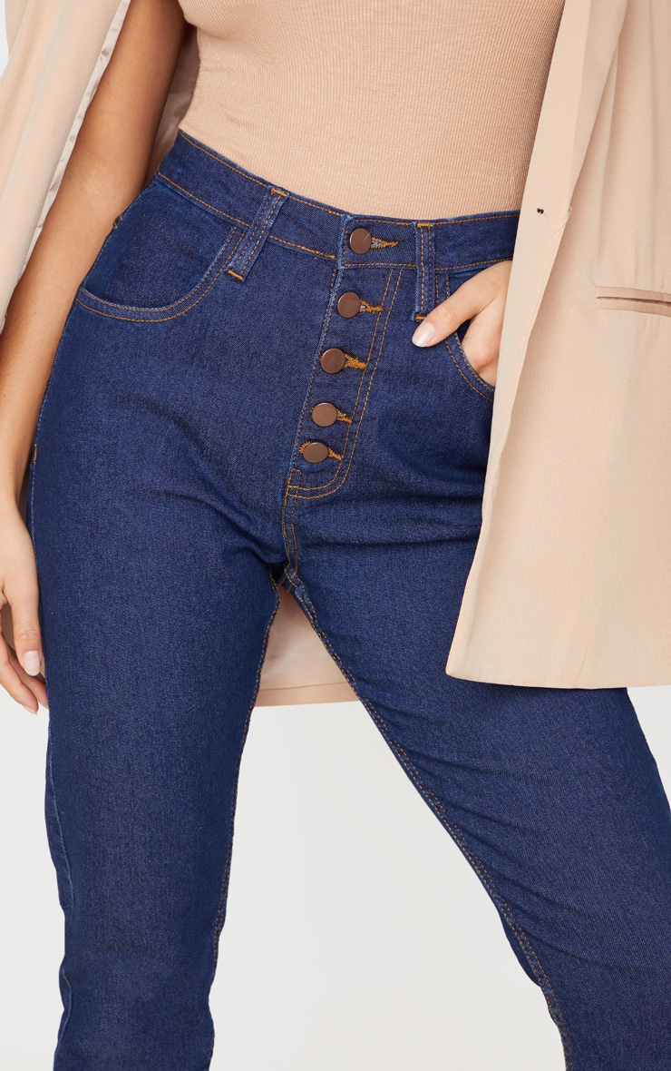 Petite Dark Blue Wash Skinny Button Front Denim Jean 5
