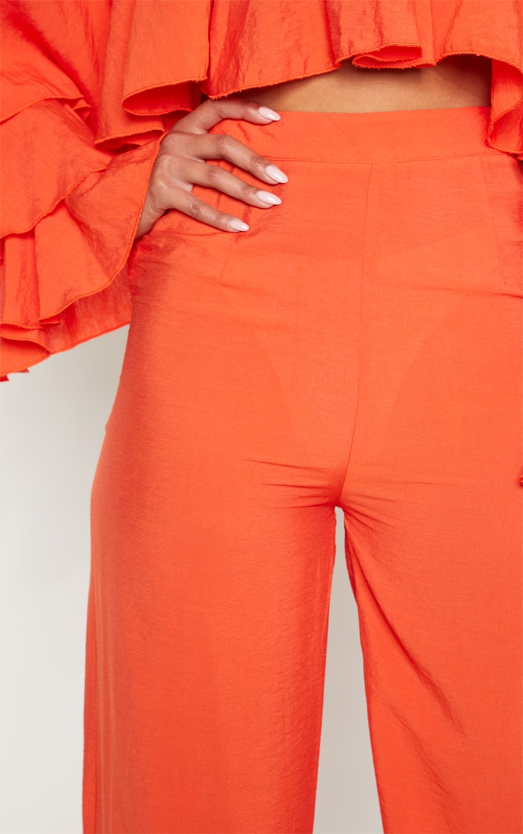 Bright Orange Woven High Waisted Wide Leg Pants 5