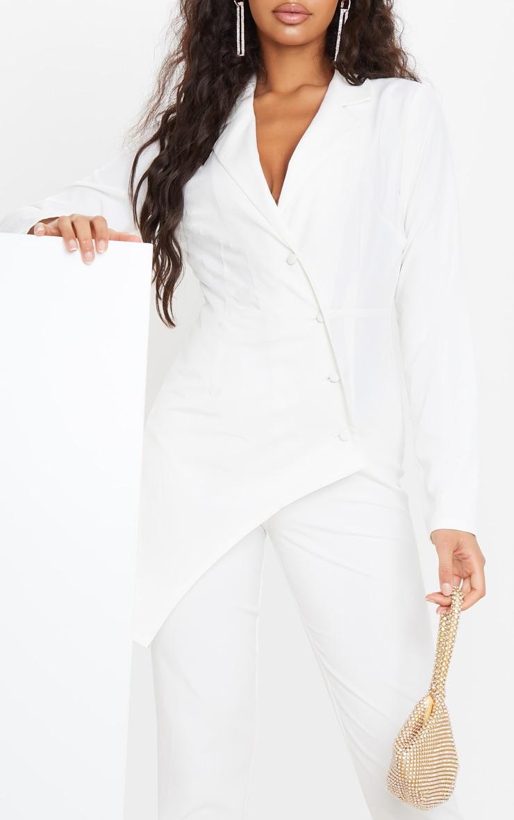 White Button Detail Asymmetric Blazer Jumpsuit 5