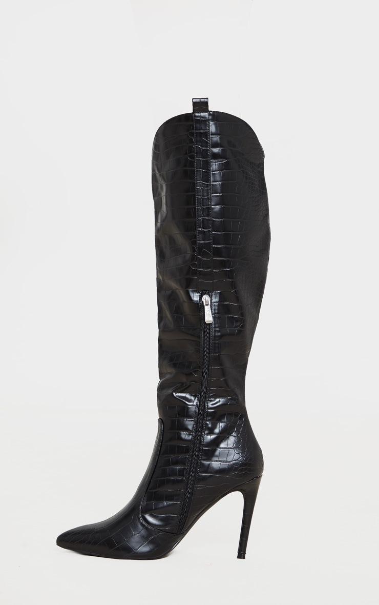 Black Croc PU Stiletto Heel Western Boots 3