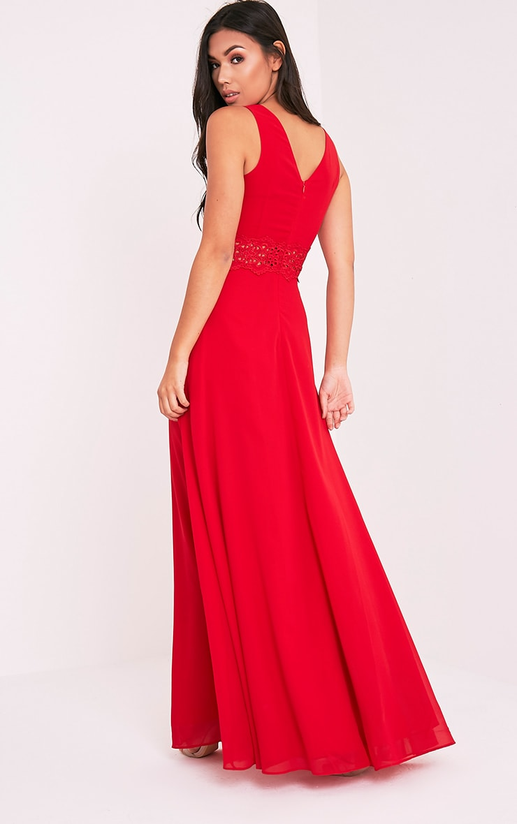 Caitlan Red Lace Insert Maxi Dress 6