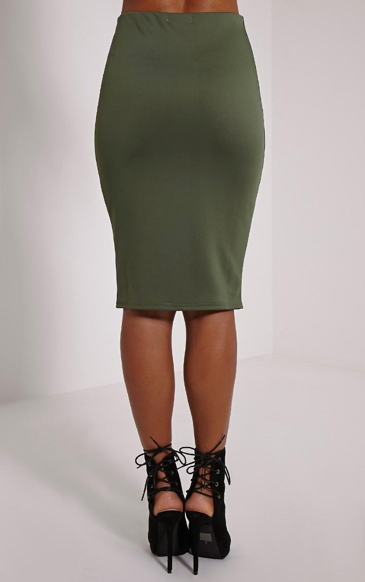 Winnie Khaki Scuba Midi Skirt 4