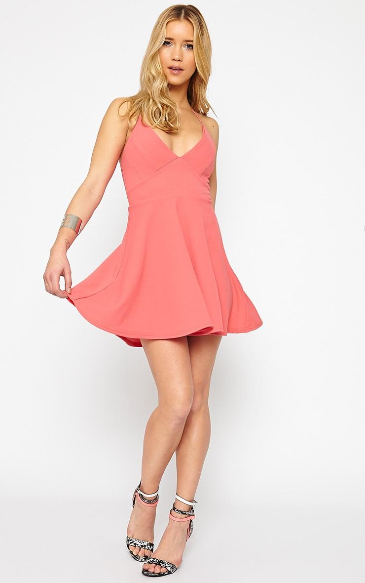 Luccie Coral Crepe Skater Dress 3