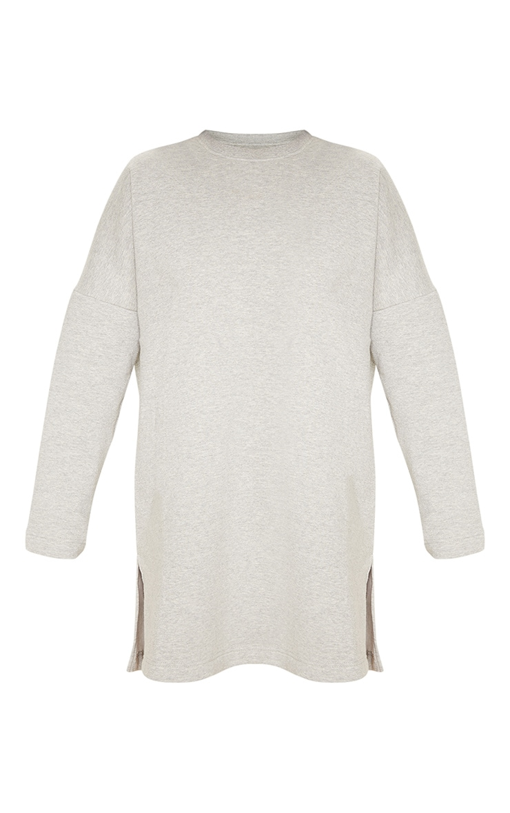 Grey Marl Oversized Side Split Sweat Jumper Dress 3