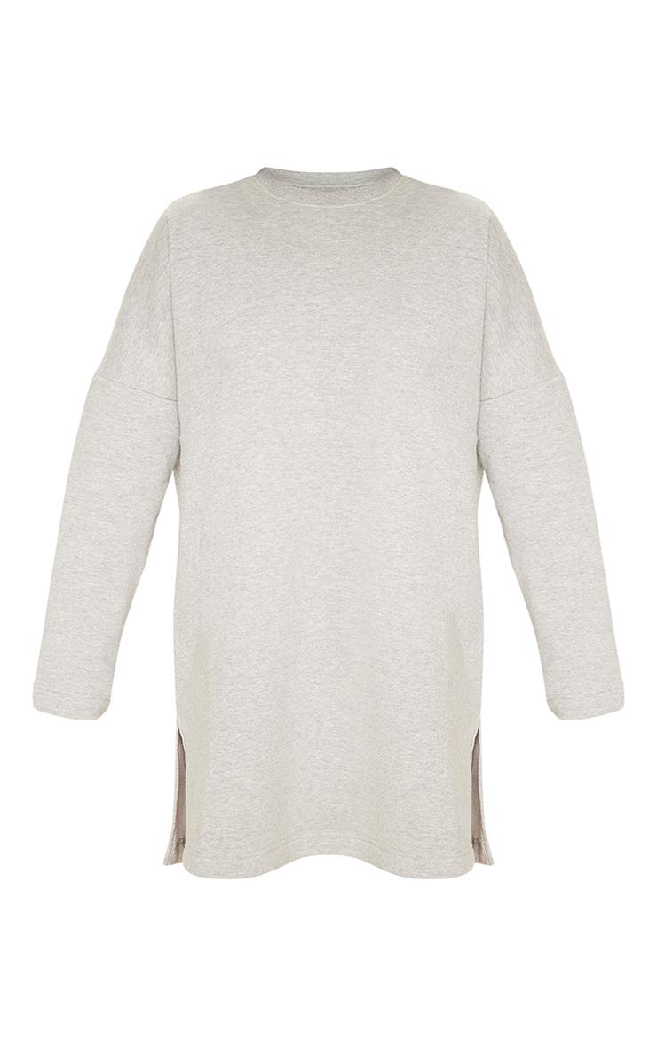Grey Marl Oversized Side Split Sweater Dress 3