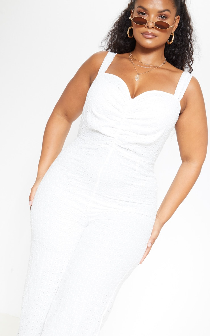 Plus White Broderie Anglaise Wide Leg Jumpsuit 5