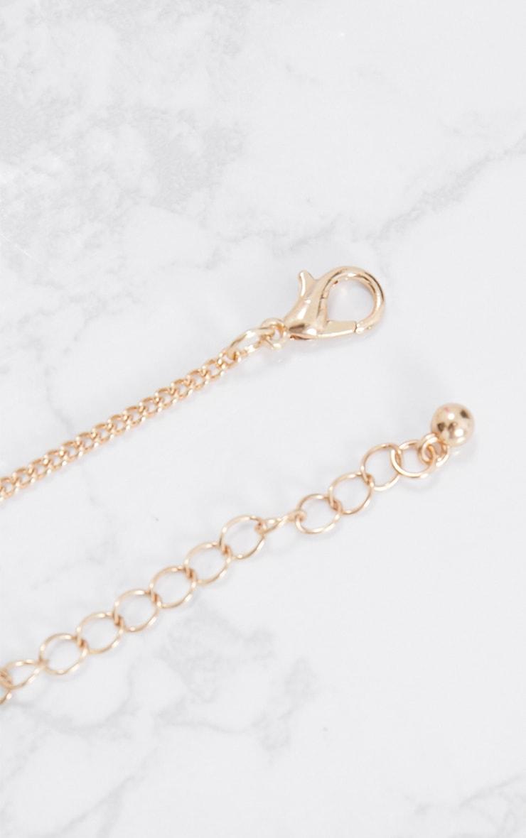 Gold Square Diamante Pendant Necklace 4