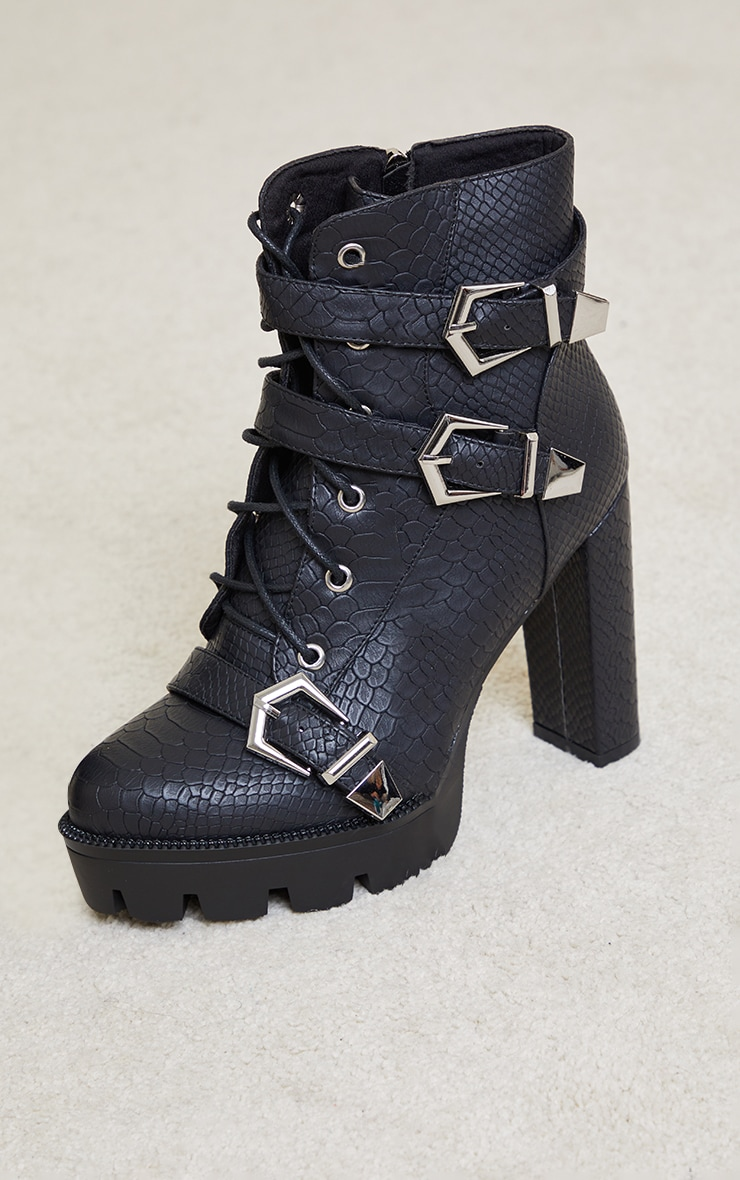 Black PU Croc Cleated Sole Triple Buckle Detail Heeled Ankle Boots 4
