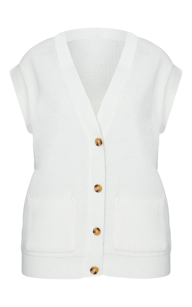 Cream Button Up Pocket Detail Sleeveless Cardigan 5