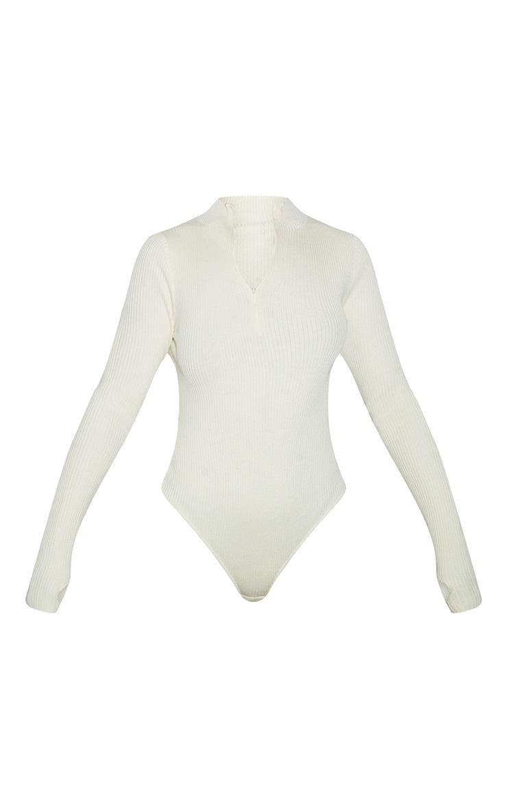 Cream Half Zip Knitted Bodysuit 5