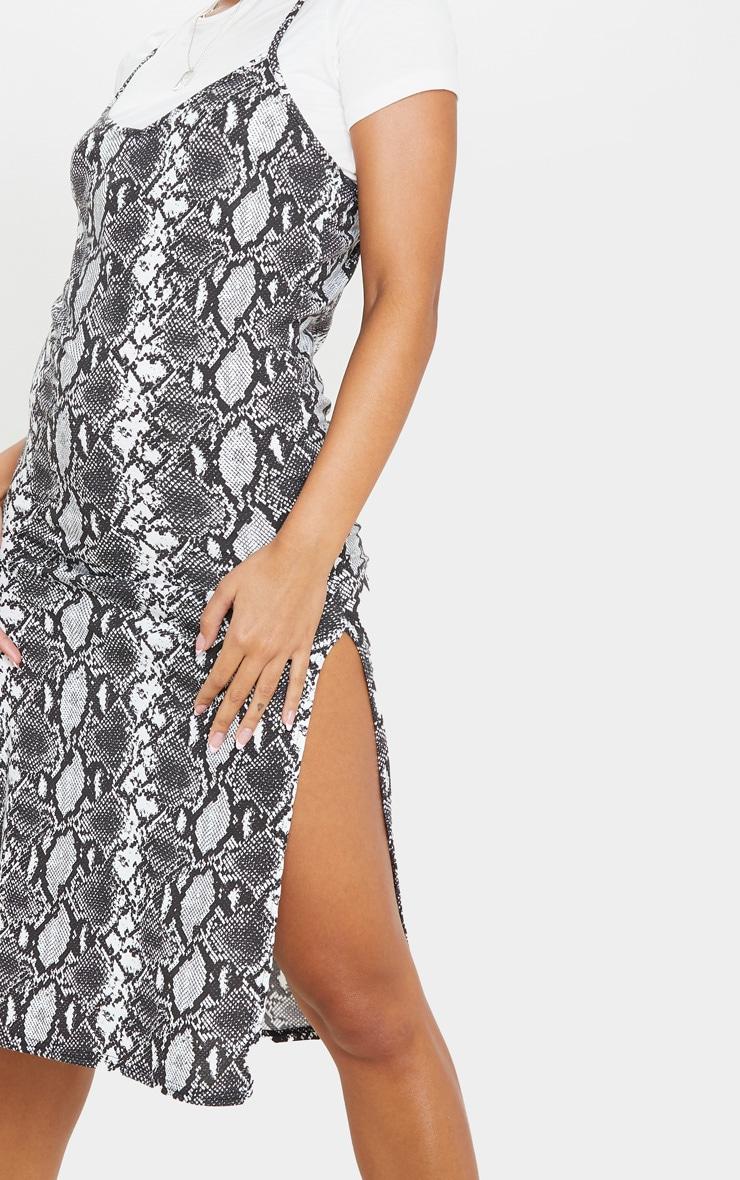 Monochrome Snake Print Split Jersey Midi Dress 5