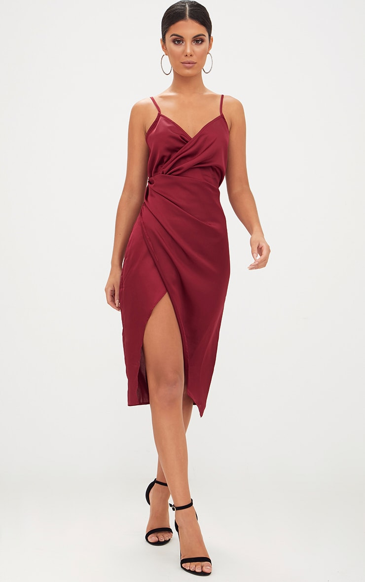 Burgundy Satin Strappy Twist Front Midi Dress