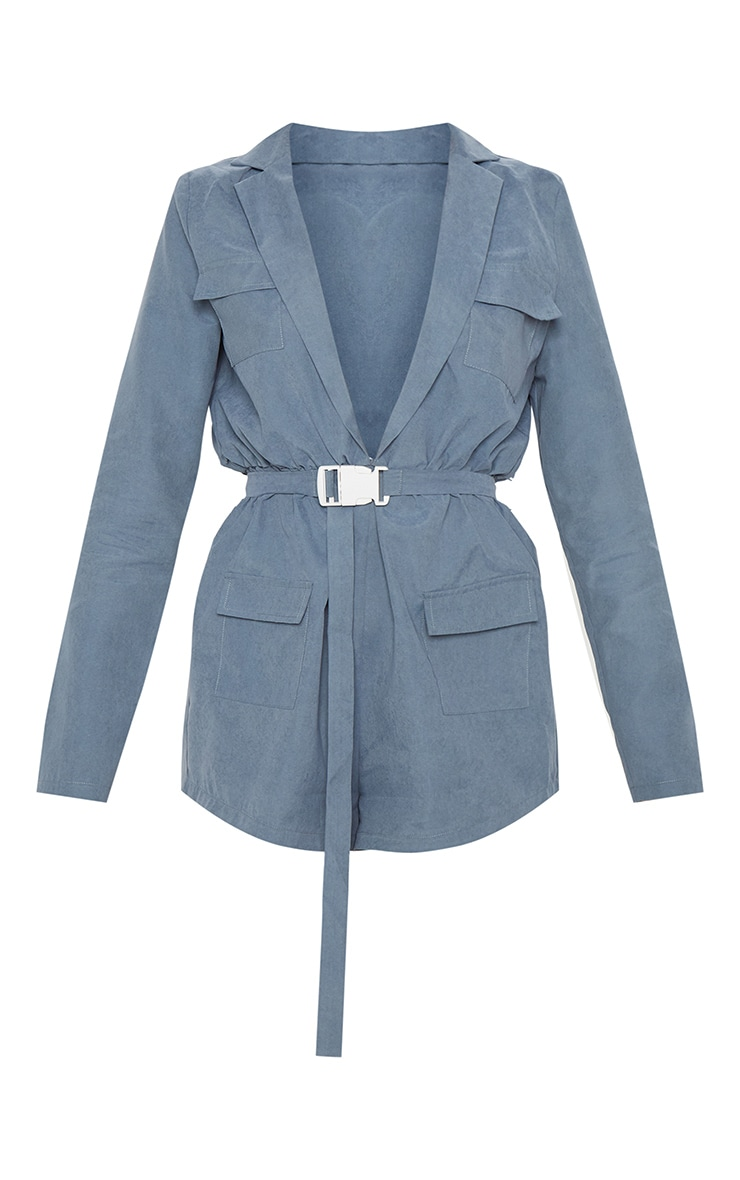 Dusky Blue Belt Detail Plunge Utility Playsuit 3