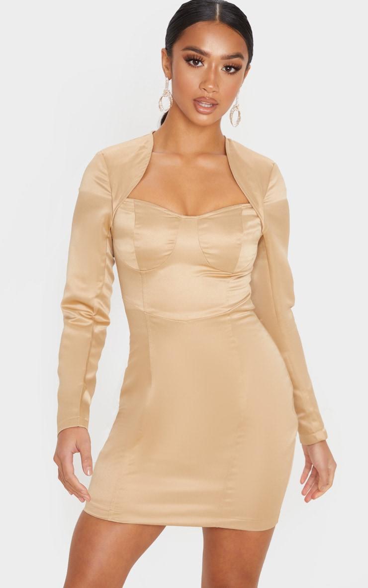 Petite - Mini-robe champagne satinée à armatures et manches longues 4