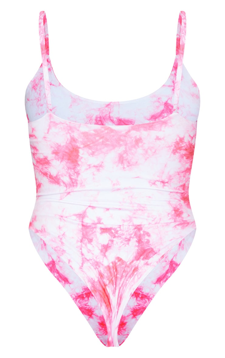 Shape Pink Tie Dye Scoop Neck Swimsuit 6