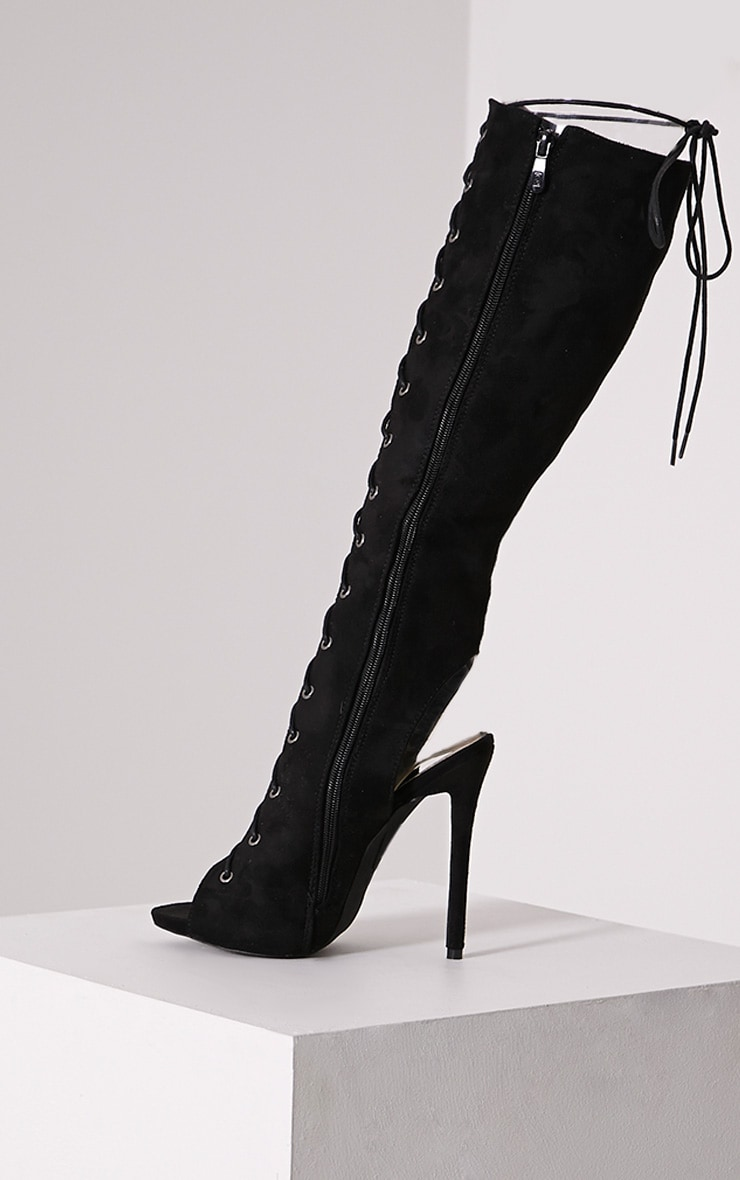 Sharon Black Lace Up Knee High Boots 4