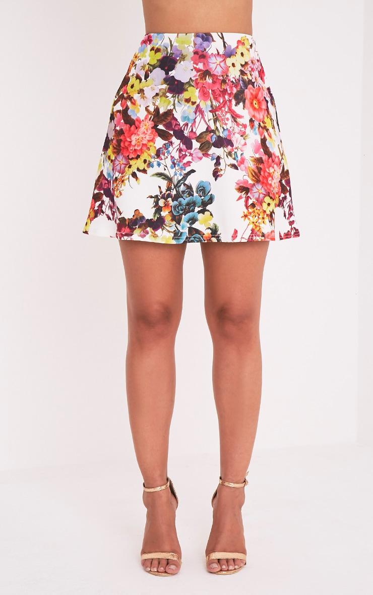 Tamira White Floral A-Line Mini Skirt 2