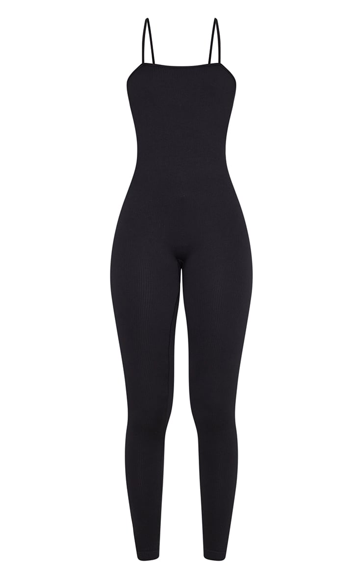 Tall Black Strappy Contour Ribbed Jumpsuit 5