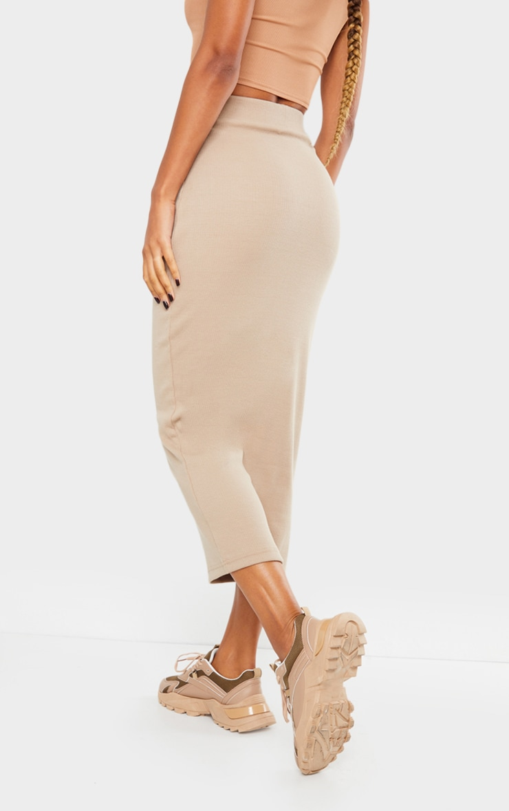 Taupe Heavy Rib Bodycon Maxi Skirt 3
