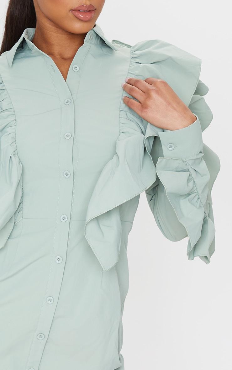 Sage Green Ruffle Detail Button Down Shirt Dress 4