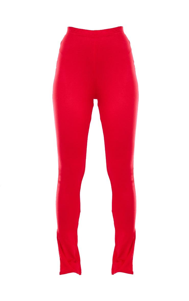Red Basic Jersey Split Hem Legging 5