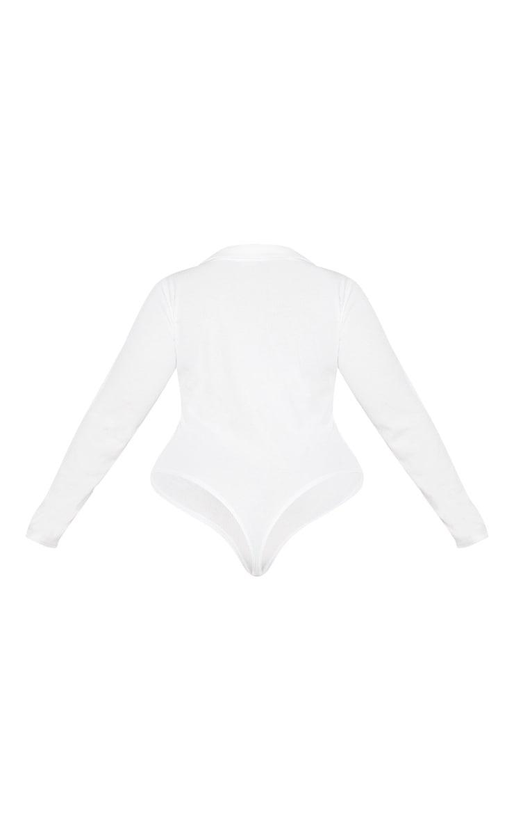 Plus Cream Button Collar Bodysuit 6
