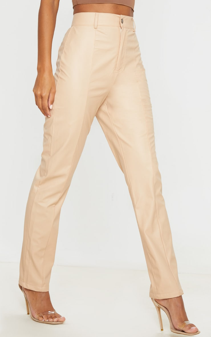 Nude Faux Leather Pintuck Skinny Trousers 2