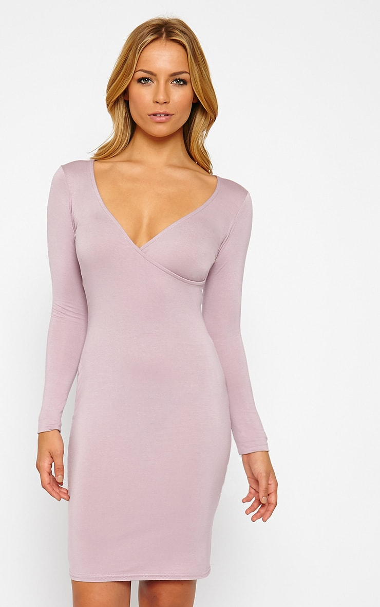 Kayla Mauve Wrap Jersey Dress 1