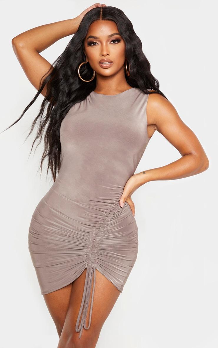 Shape Mocha Slinky Ruched Side Bodycon Dress 1
