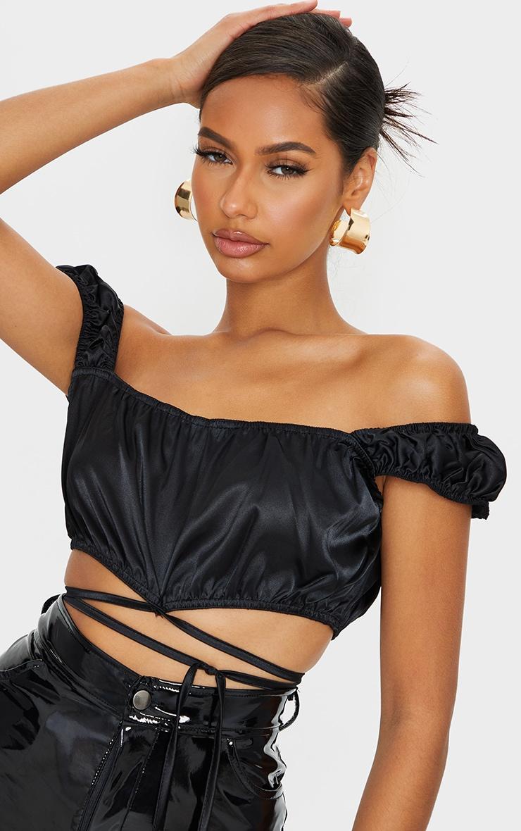Black Satin Bardot Tie Detail Crop Top 4