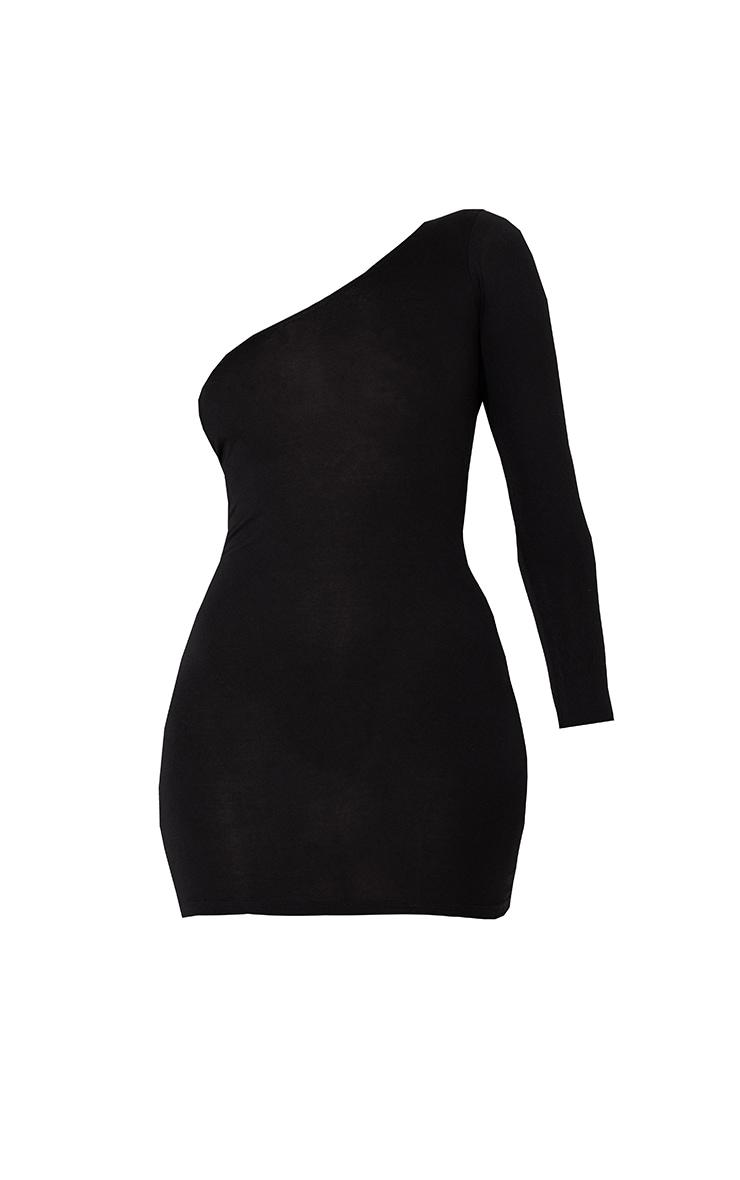 Black One Shoulder Long Sleeve Bodycon Dress 6