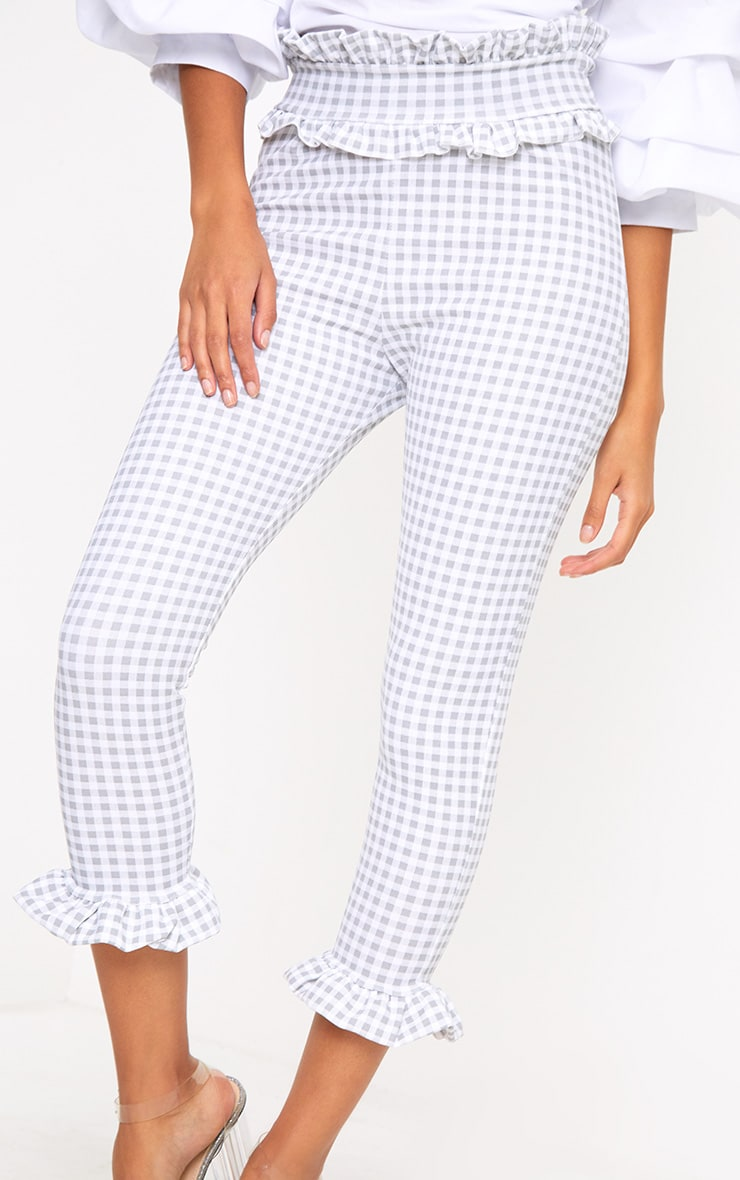 Keren Grey Gingham Frill Trim Trousers 5