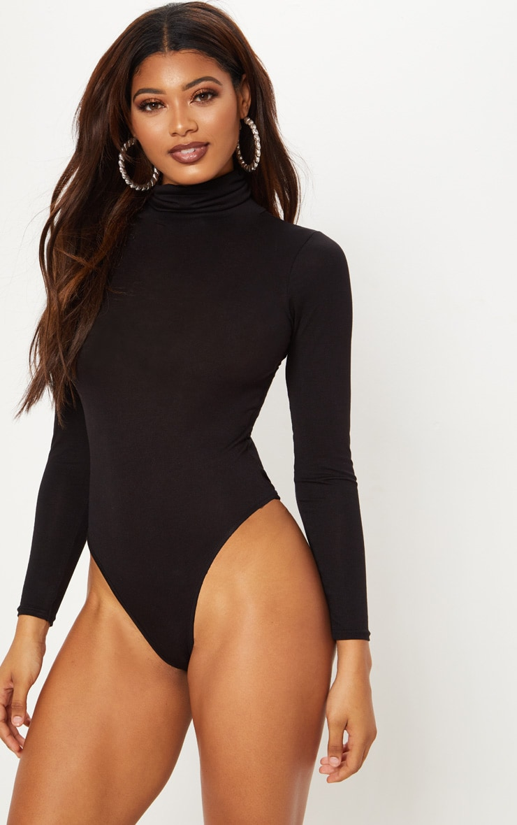 Tall Black Roll Neck Bodysuit 2