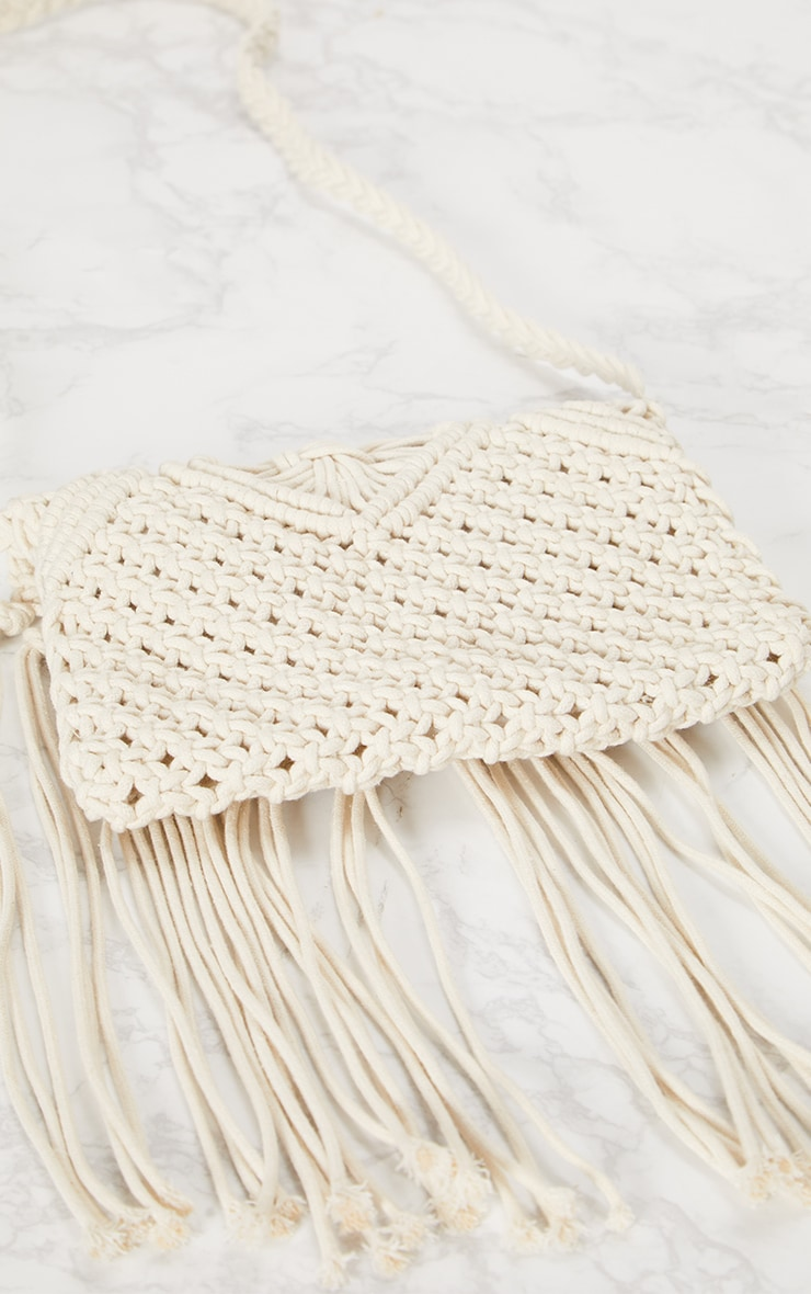 White Crochet Tassel Shoulder Bag 5