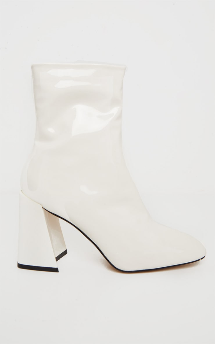 White Square Toe Flared Block Heel Ankle Boot 4
