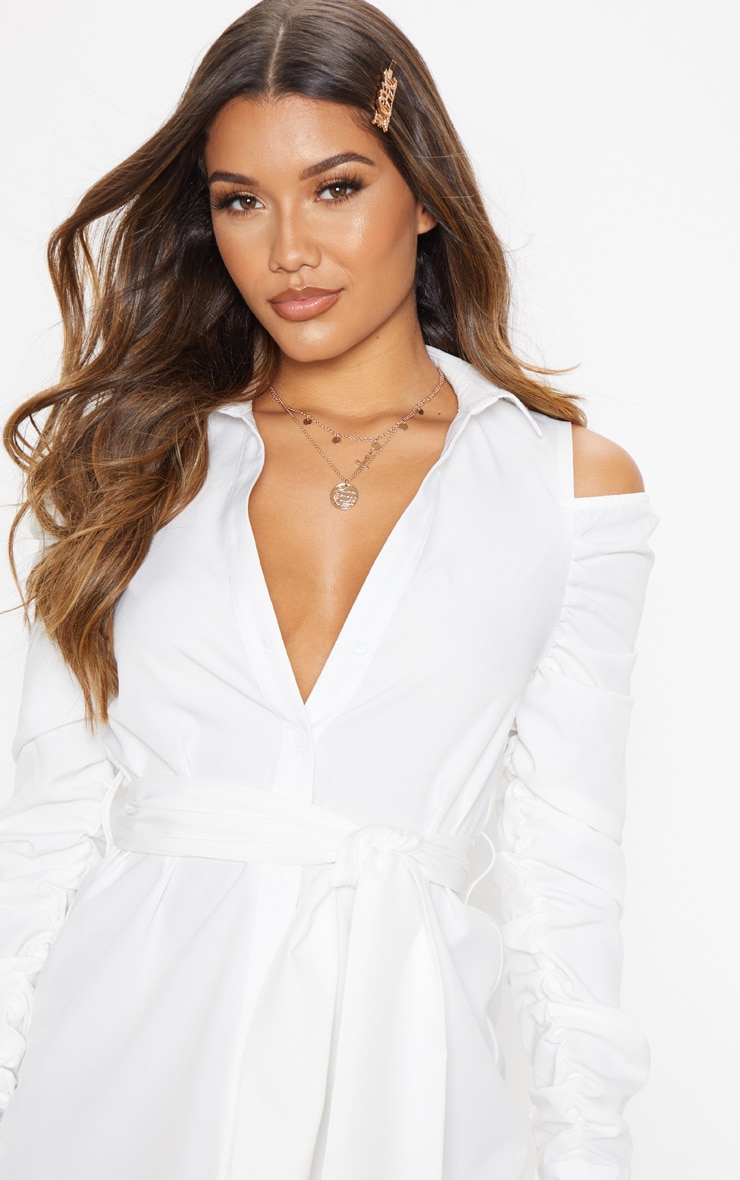 White Cold Shoulder Ruched Shirt Dress 5