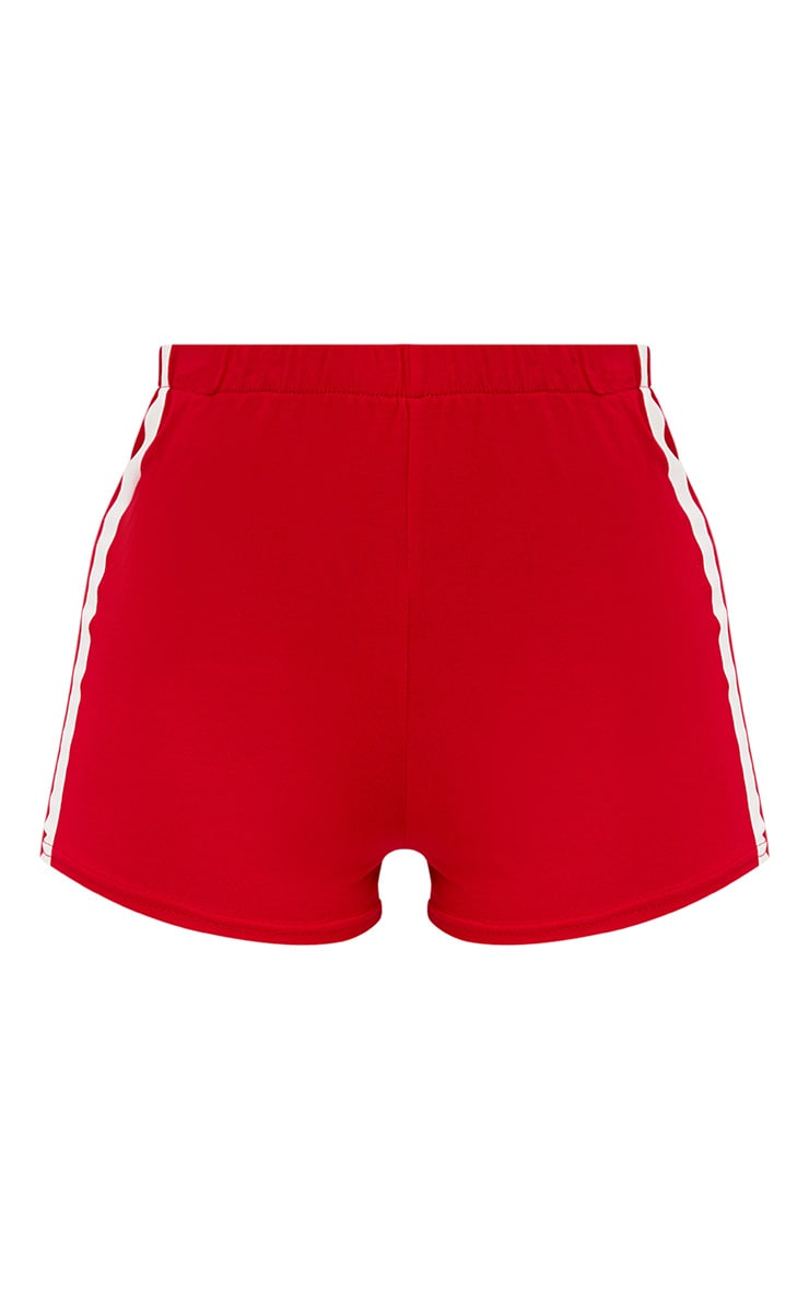Red Contrast Stripe Track Shorts 3