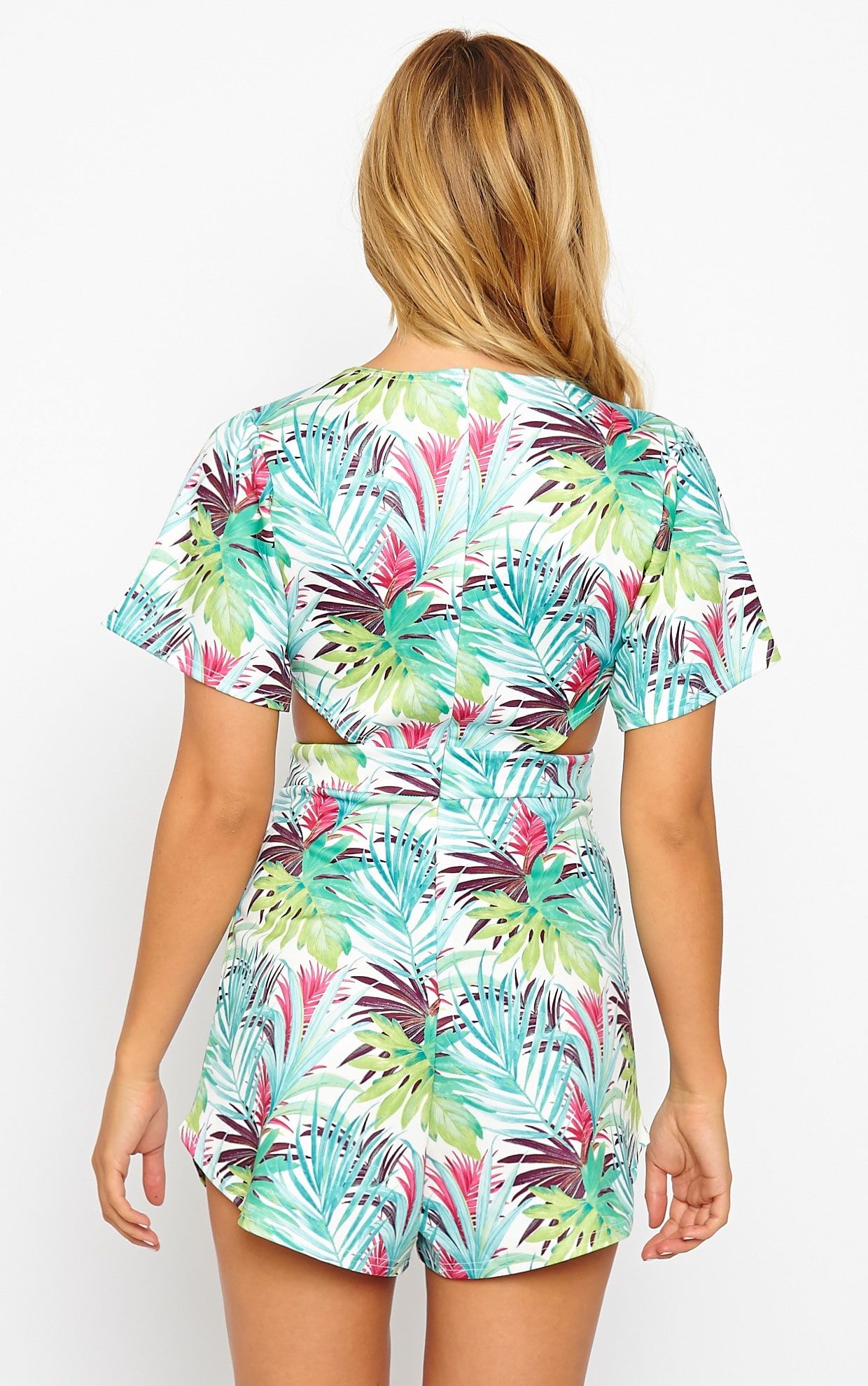 Tiana Tropical Print Cut Out Detail Playsuit 2