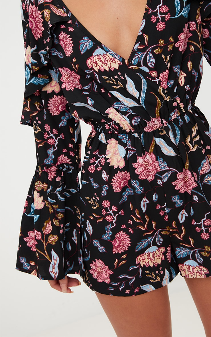 Navy Floral Frill Playsuit 4