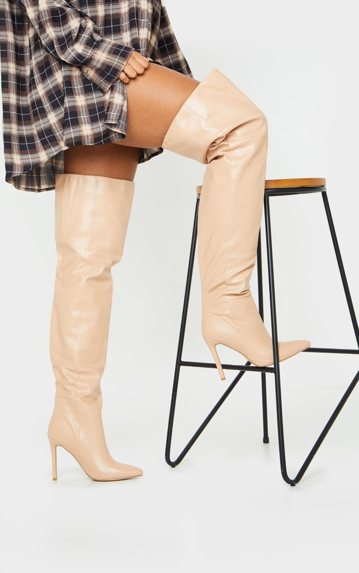 Nude Thigh High Stiletto Boots 2