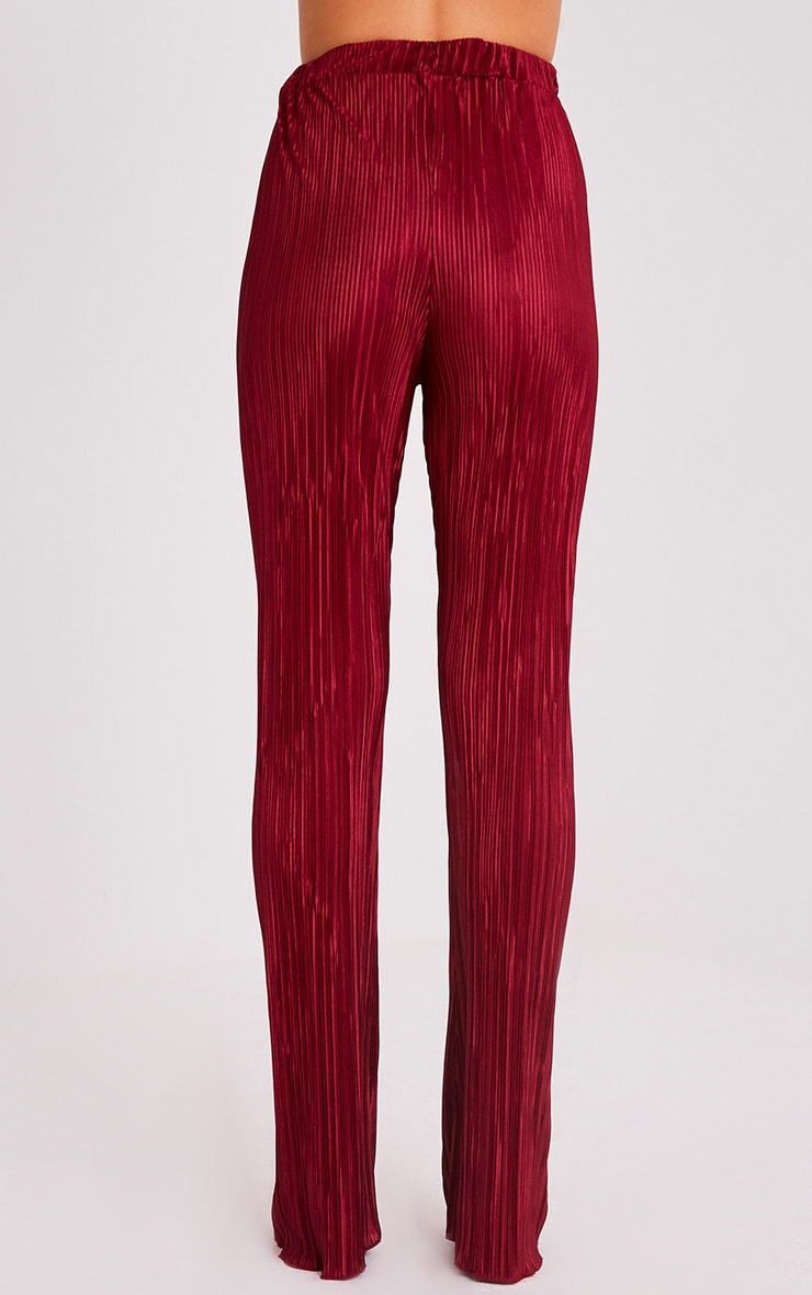 Follie Wine Pleated High Waisted Trousers 5