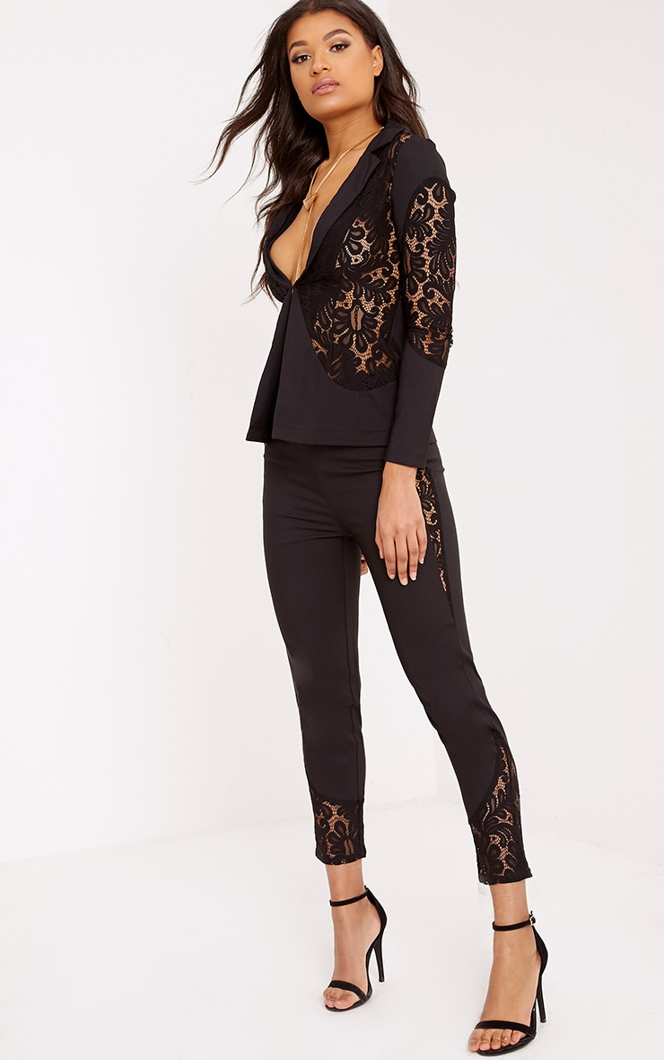 Mikaylah Black Lace Insert Suit Trousers 1