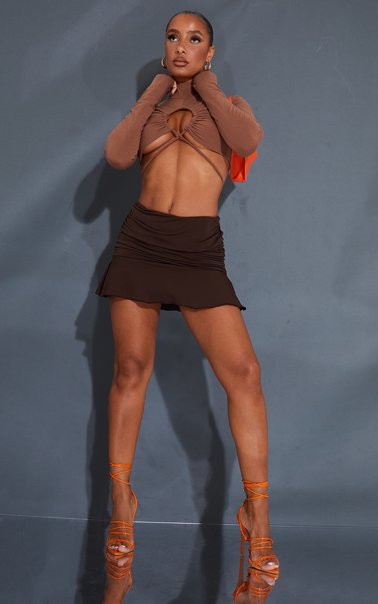 Chocolate Ruched Slinky Frill Hem Mini Skirt 4